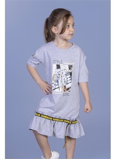 Toontoy Kids Toontoy Kız Çocuk Dijital Baskılı Büzgülü Şerit Detaylı Elbise Renkli